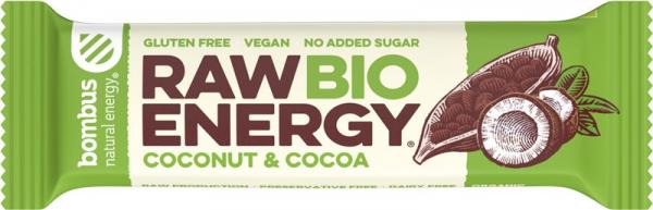 Baton energizant bio, Raw Energy, cu nuca de cocos si cacao 50g Bombus [0]