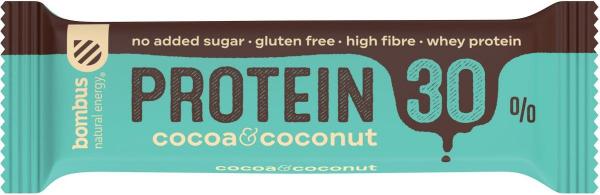 Baton Proteic Cu Cacao Si Nuca De Cocos, 30% Proteine, 50G Bombus [0]