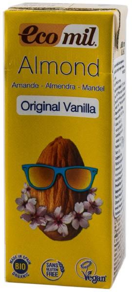 Bautura BIO de migdale cu vanilie indulcita cu sirop de agave, original,  200 ml, cu pai Ecomil [0]
