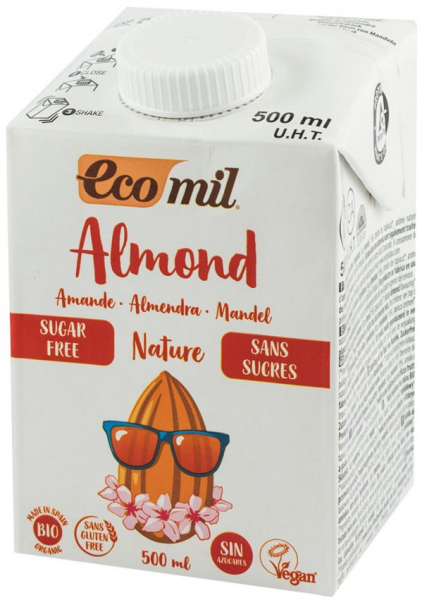 Bautura bio, natur de migdale, fara zahar, 500 ml Ecomil [0]