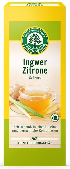 Ceai bio verde de ghimbir si lamaie, 20 plicuri x 2 g, 40 g LEBENSBAUM [0]