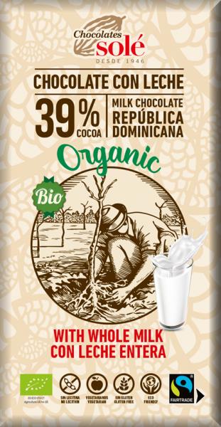 Ciocolata cu lapte Bio si Fairtrade, 100 g Chocolates Sole [0]