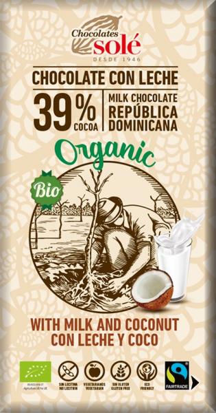Ciocolata cu lapte si cocos BIO si Fairtrade, 100g Chocolates Sole [0]