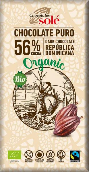 Ciocolata neagra BIO 56% cacao, 100 g Chocolates Sole [0]