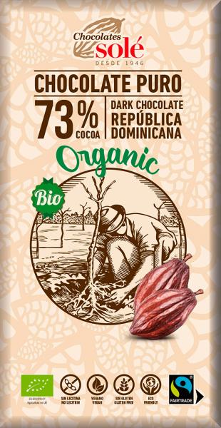 Ciocolata neagra BIO 73% cacao 100 gr Chocolates Sole [0]