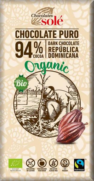 Ciocolata neagra BIO si fairtrade 94% cacao, 100g Chocolates Sole [0]