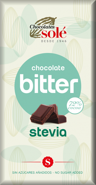 Ciocolata neagra cu stevie, minim 72% cacao, 100g Chocolates Sole [0]