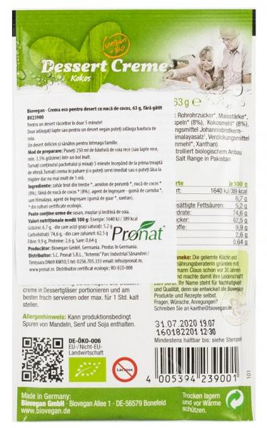 Crema Bio pentru desert cu nuca de cocos, 63 g Biovegan [1]