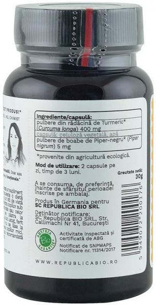 Curcuma bio (Turmeric) din India (405 mg), 60 capsule (30 g) [2]