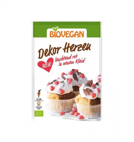 Decoratiuni BIO pentru dulciuri - Inimioare rosii, 35 g Biovegan [0]