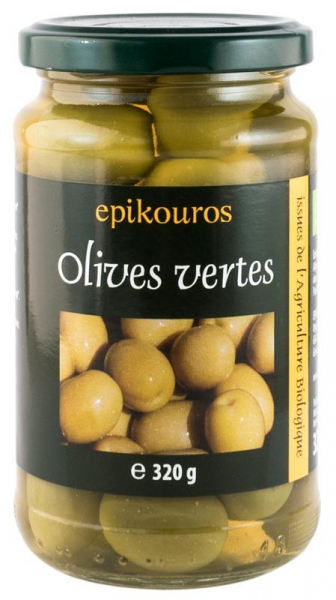 Epikouros - Masline verzi bio cu samburi in saramura, 320 g [0]