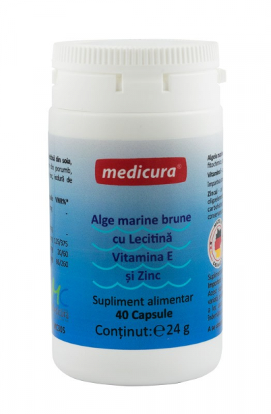 Extract de Alge marine brune cu Lecitina, Vitamina E si Zinc, 40 capsule Medicura [0]