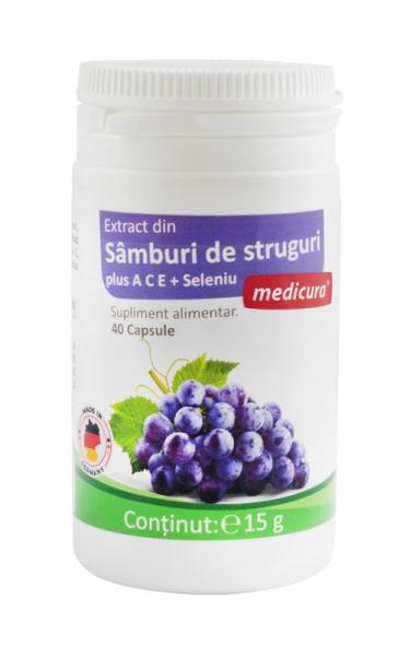 Extract din samburi de struguri + A C E + Seleniu, 40 capsule  Medicura [0]