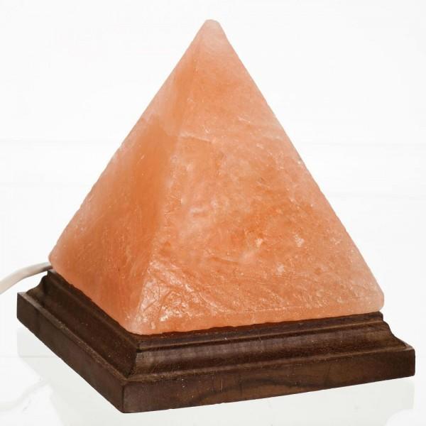 Lampa de sare Himalaya - piramida pe suport de lemn [1]