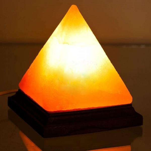 Lampa de sare Himalaya - piramida pe suport de lemn [2]
