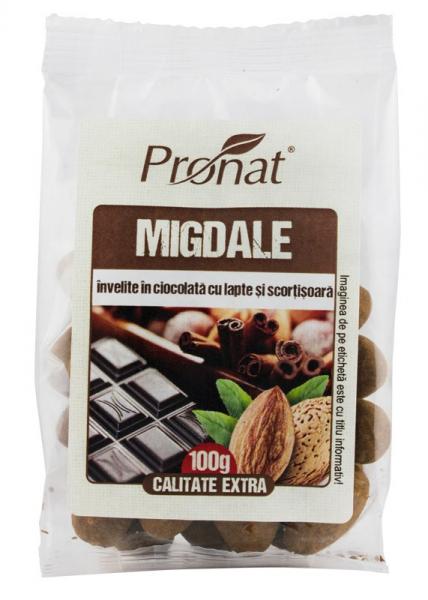 Migdale invelite in ciocolata cu lapte si scortisoara, 100g [0]