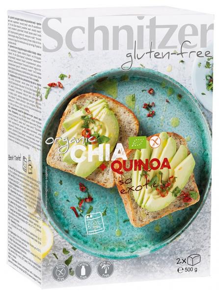 Paine bio fara gluten cu seminte de chia si faina integrala de quinoa, 500 gr SCHNITZER GLUTENFREE [0]