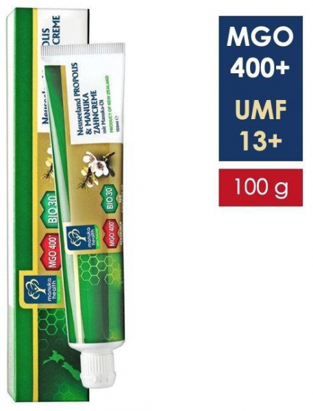 Pasta de dinti fara fluor, cu miere de Manuka MGO 400+ UMF 13+, Propolis BIO30, ulei de Manuka (100g) [0]