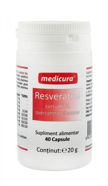 Resveratrol, curcumina, quercetina, vitamine, 40 capsule Medicura [0]