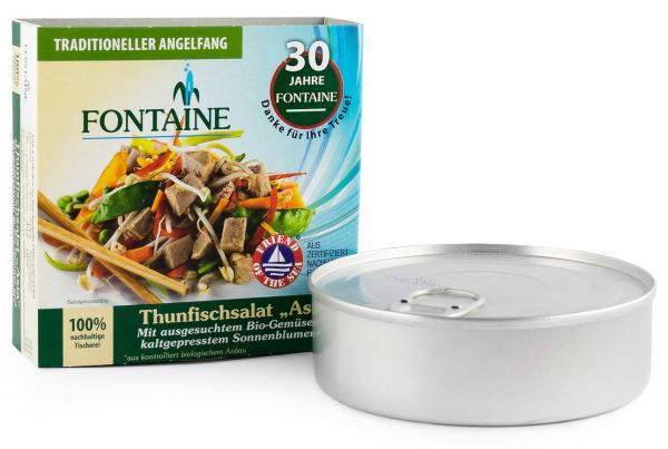 Salata de ton Asia cu legume bio si ulei de floarea soarelui presat la rece, 200g Fontaine [0]