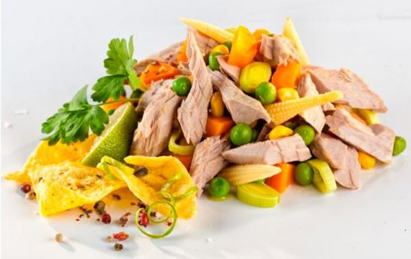 Salata de ton Texas cu legume bio si ulei de floarea soarelui presat la rece, 200g Fontaine [1]