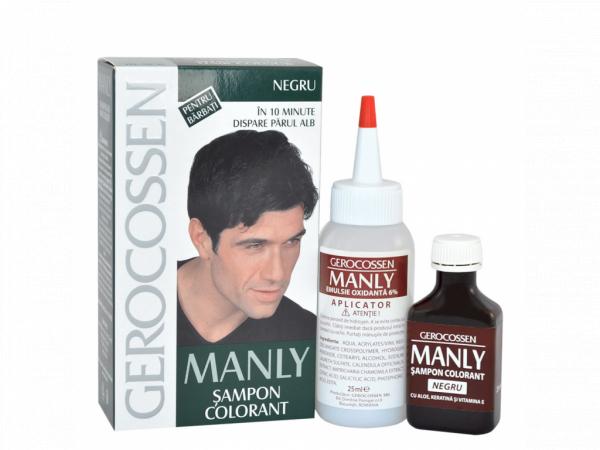 Sampon colorant pentru barbati - Negru - Manly 25 ml [0]