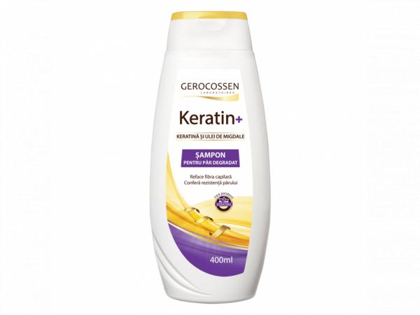 Sampon cu keratina si ulei de migdale pentru par degradat - Keratin+ 400 ml [0]