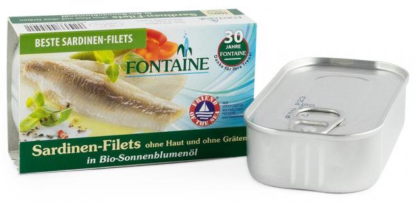 Sardine fara piele si fara oase, in ulei bio de floarea soarelui, 120g Fontaine [0]