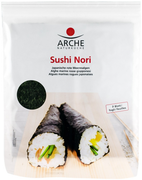 SUSHI NORI ALGE MARINE PRAJITE PENTRU SUSHI, 7 FOI X 2,4 G / 17 G ARCHE [0]