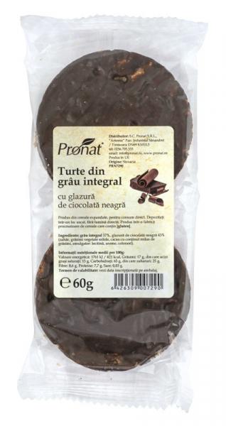 Turte din grau integral cu glazura de ciocolata neagra, 60 g [0]