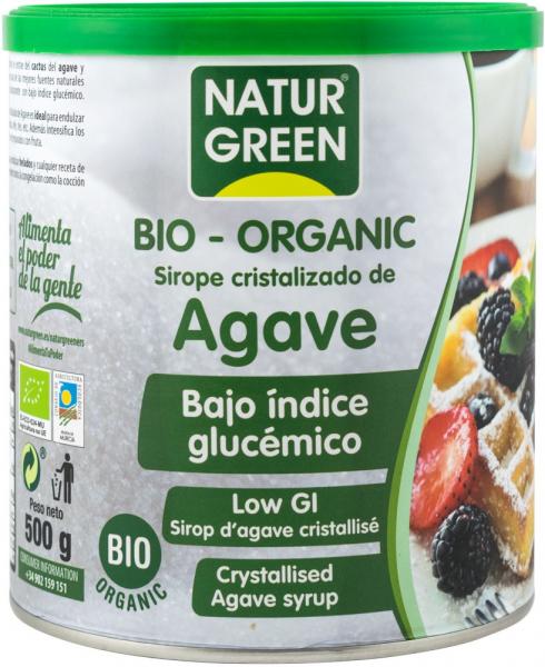 Zahar BIO obtinut din cristalizarea siropului de agave, cu indice glicemic scazut, 500g Natur Green [0]