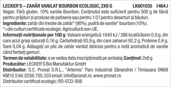 Zahar vanilat Bourbon, bio, 2x8 g Lecker's [1]