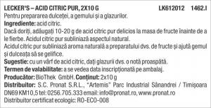 Acid citric pur, 2x10 g Lecker's [1]