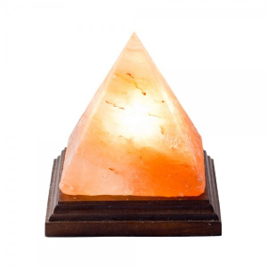 Lampa de sare Himalaya - piramida pe suport de lemn [0]