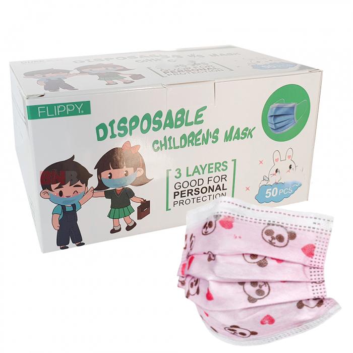 Cutie 50 masti de protectie pentru copii (roz) [0]
