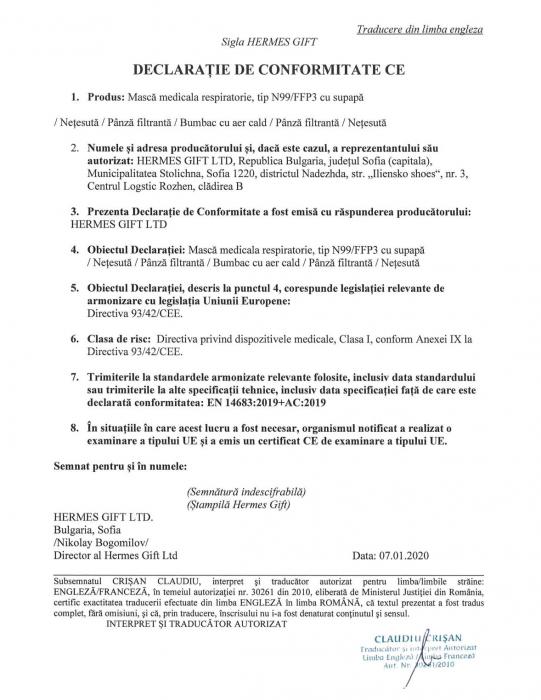 Masca medicala de Protectie FFP3 (eficienta >99%) cu valva, fabricata in UE [3]
