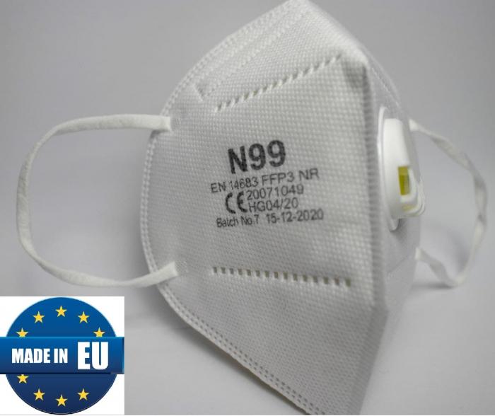 Masca medicala de Protectie FFP3 (eficienta >99%) cu valva, fabricata in UE [1]