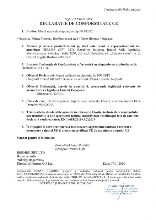 Masca medicala de Protectie FFP2 (eficienta >95%) fara valva, fabricata in UE [3]