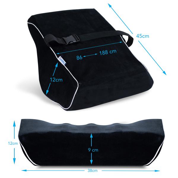 Pernă ortopedică pentru durerile de spate | Culoare Negru | pentru scaun birou sau auto [2]