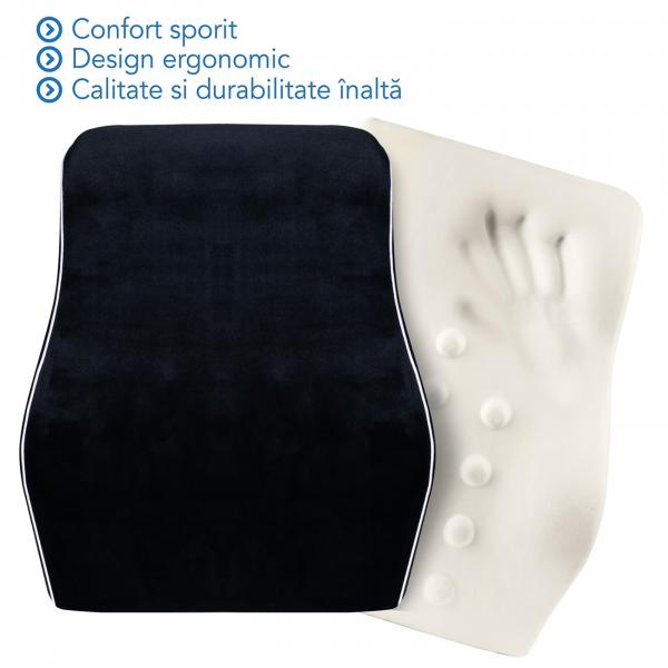 Pernă ortopedică pentru durerile de spate | Culoare Negru | pentru scaun birou sau auto [1]