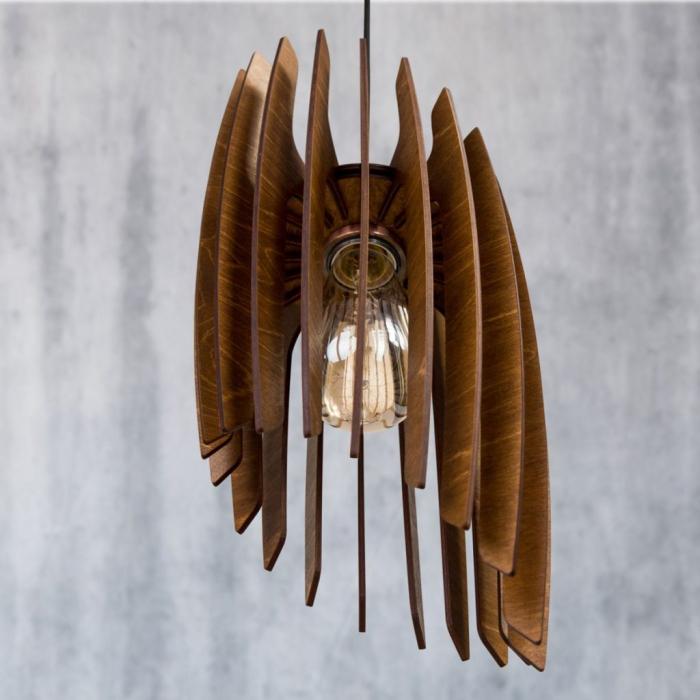 Lustră din lemn Oblique – Nuc închis [2]