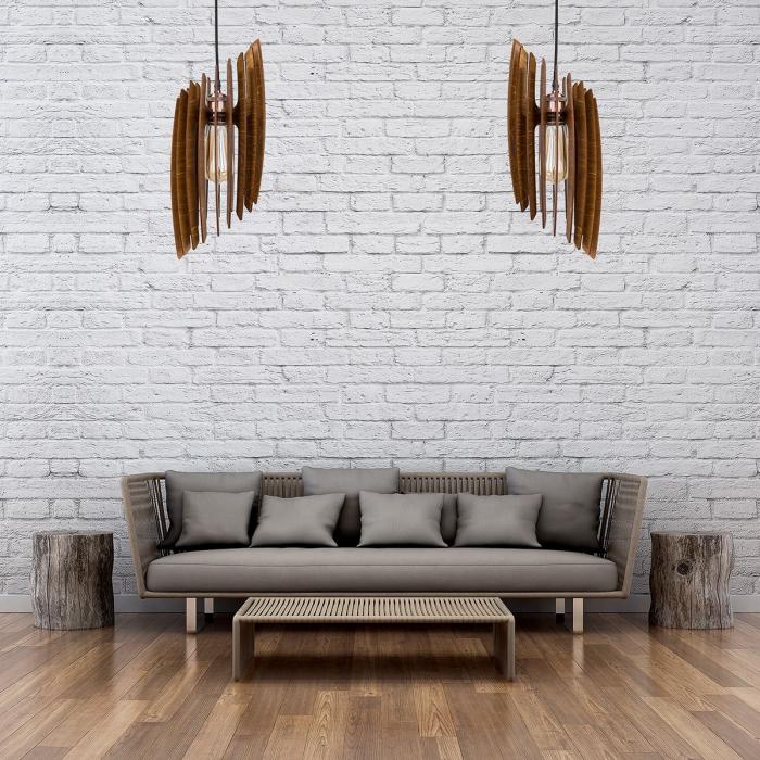 Lustră din lemn Oblique – Nuc închis [5]