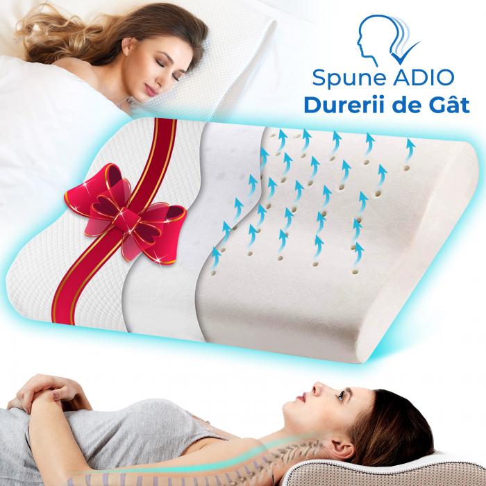 Pernă ergonomică de dormit cu fibre de bumbac și perforații [0]
