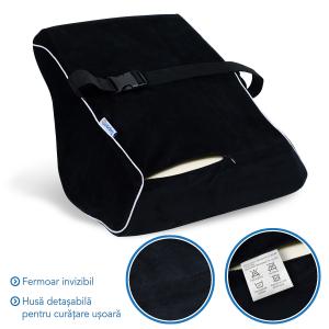 Pernă ortopedică pentru durerile de spate | Culoare Negru | pentru scaun birou sau auto [4]