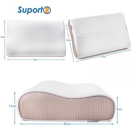 Pernă ergonomică de dormit cu fibre de bumbac și perforații [4]