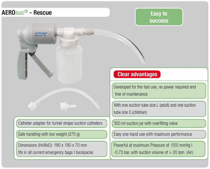 Aspirator Secretii AEROsuc Rescue, manual, vas colector 300 ml, putere aspirare > 0.6 bar, > 20 LPM [3]