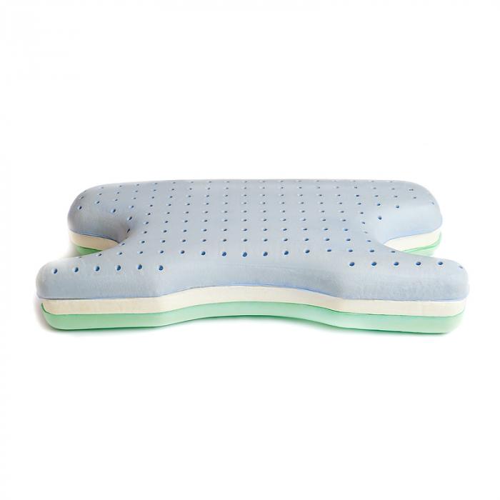 Perna CPAP 2în1 - spumă cu memorie, anatomică, 3 straturi ventilate, green tea 1