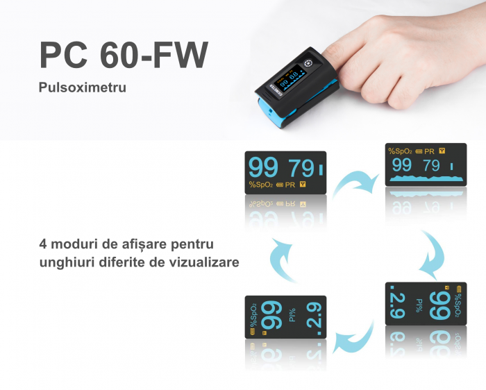 Pulsoximetru PC‐60FW cu bluetooth si display OLED 5