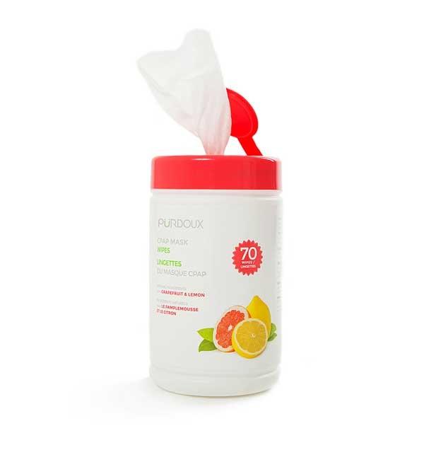 Servetele umede curatare masca CPAP - Purdoux Grapefruit & Lemon (Dispenser 70 buc) 1