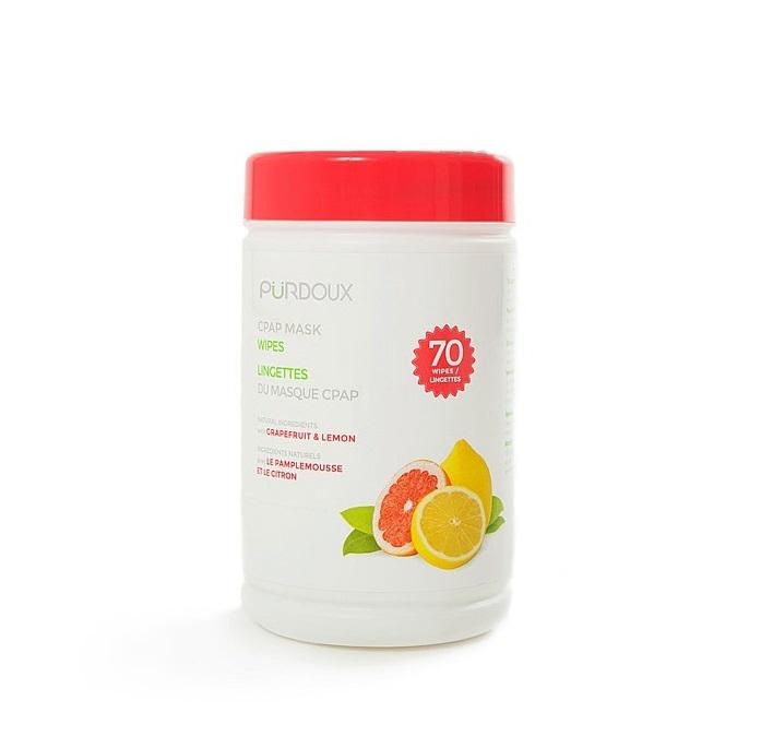 Servetele umede curatare masca CPAP - Purdoux Grapefruit & Lemon (Dispenser 70 buc) 0